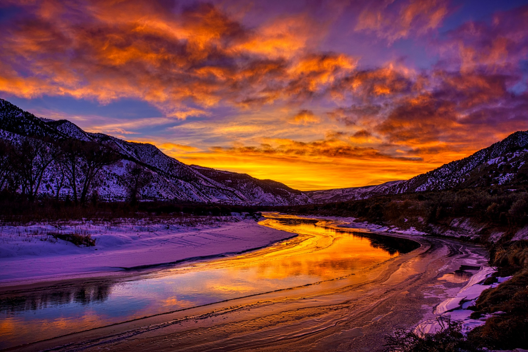 Vibrant Sunset River Reflections Landscape in Winter